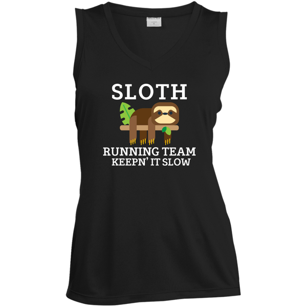 Sloth Running Team Ladies Sleeveless Moisture Absorbing V-Neck