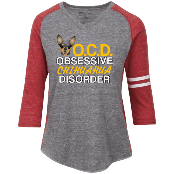 OCD Chihuahua Ladies' Vintage V-neck Shirt