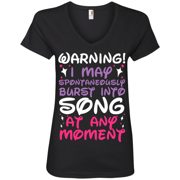 Warning I May Burst Into Song Ladies' V-Neck Tee