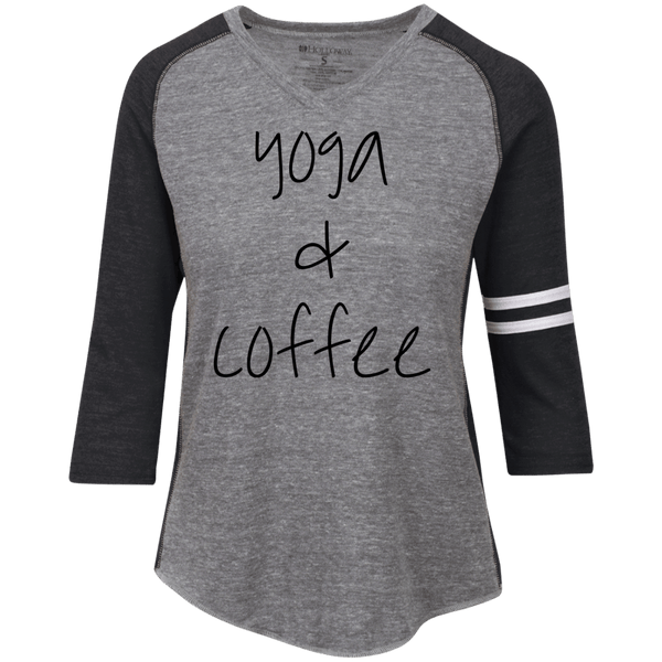 Yoga & Coffee Ladies' Vintage V-neck Shirt