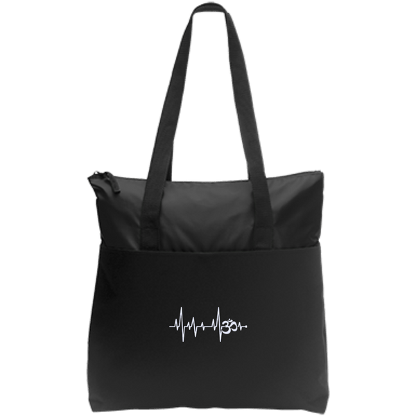 Om Heartbeat Zip Up Tote Bag