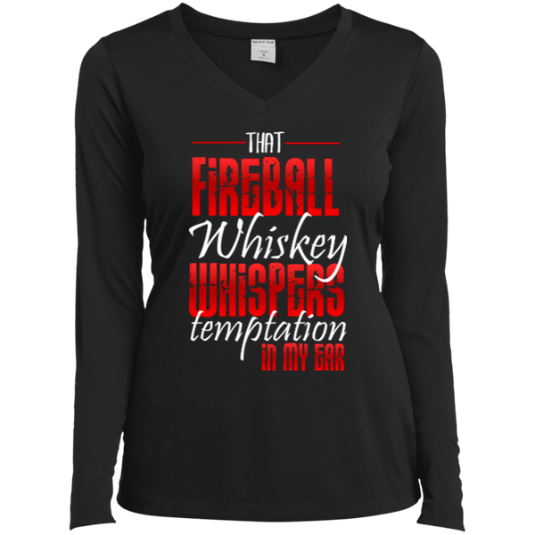 Fireball Whispers Temptation Ladies LS Vneck Tee