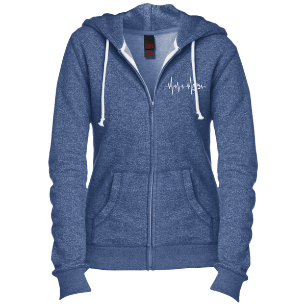 Om Heartbeat Juniors' Fitted Full-Zip Hoodie