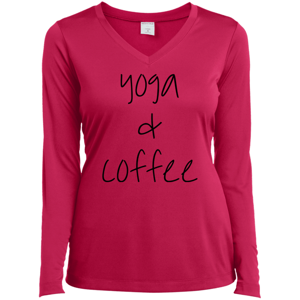 Yoga & Coffee Ladies LS Vneck Tee
