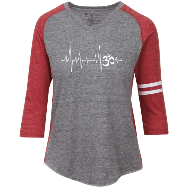 Om Heartbeat Ladies' Vintage V-neck Shirt