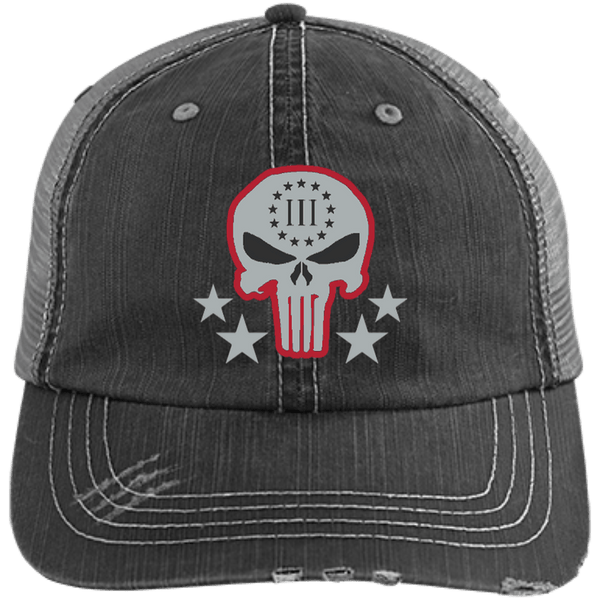 Three Percenter Distressed Trucker Cap