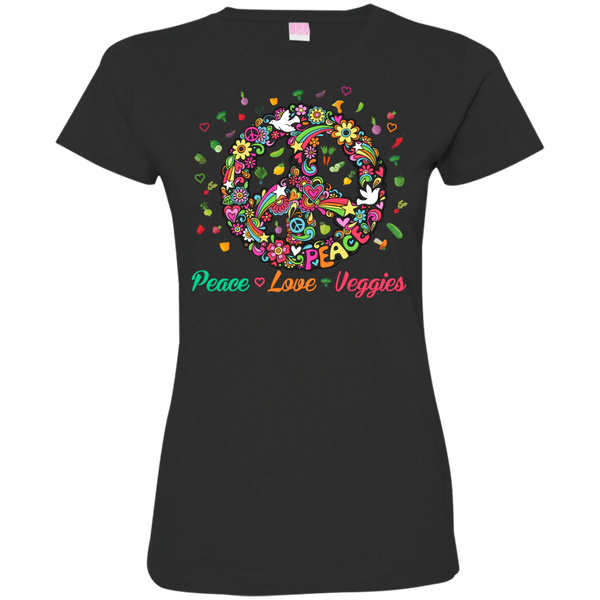 Peace Love Veggies Womens Tshirt