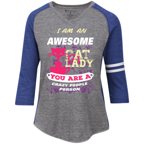 Awesome Cat Lady Ladies' Vintage V-neck Shirt