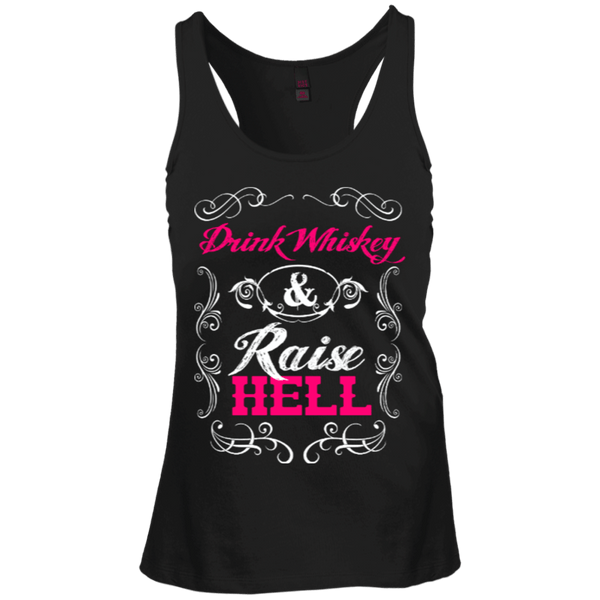 Drink Whiskey Raise Hell Juniors Racerback Tank Top