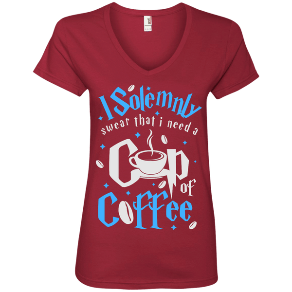 I Solemnly Swear I Need Coffee Ladies' V-Neck Tee