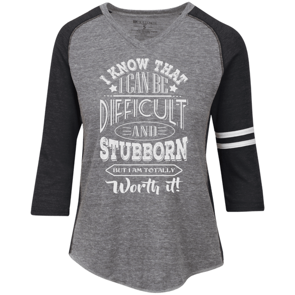 Difficult and Stubborn Ladies' Vintage V-neck Shirt