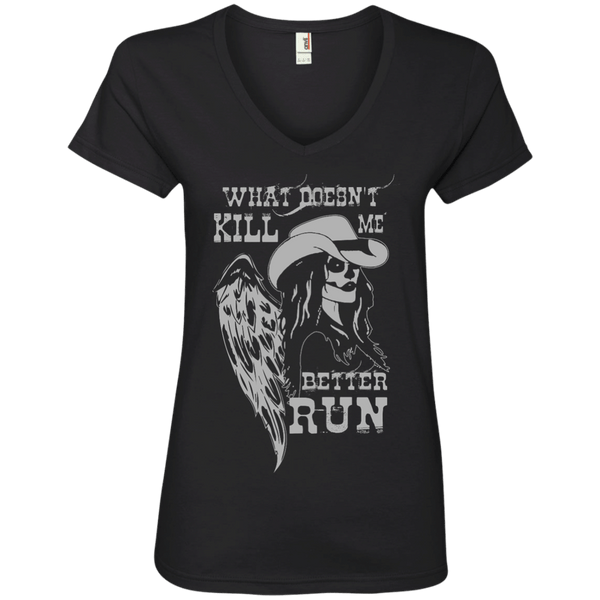 What Doesn't Kill Me Ladies' V-Neck Tee