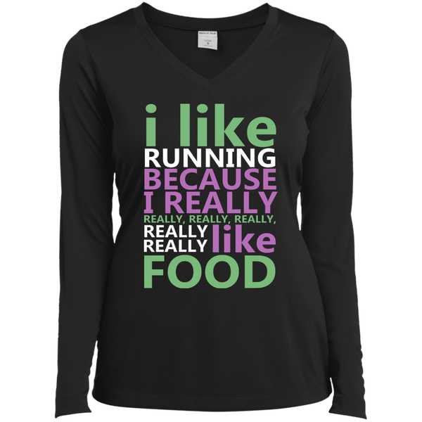 I Like Running Ladies Long Sleeve Performance Vneck Tee