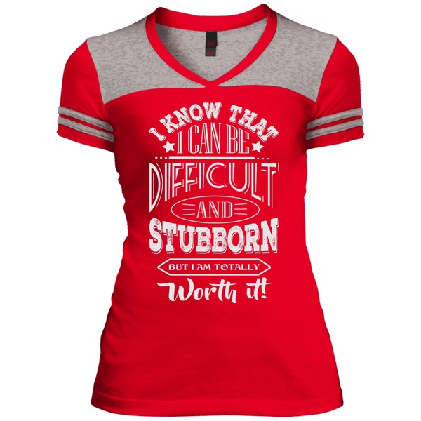 Difficult and Stubborn Juniors Varsity V-Neck Tee