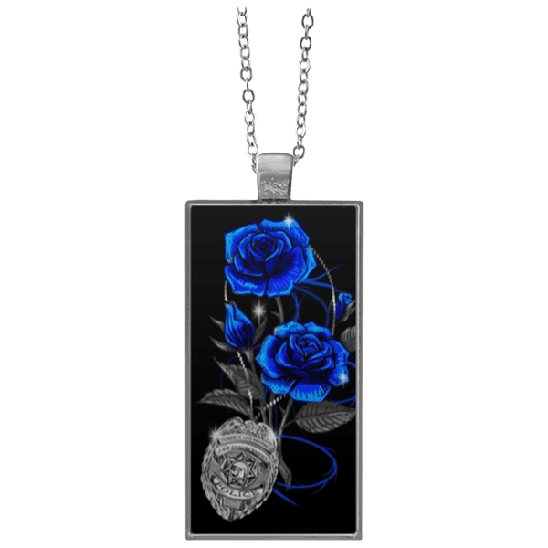 Blue Line Rose Rectangle Necklace