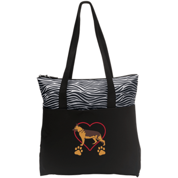German Shepherd Love Zip Top Tote