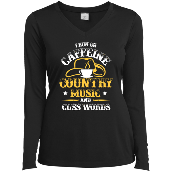 Caffeine & Country Ladies LS Vneck Tee