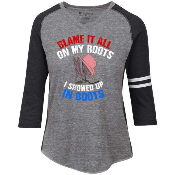 Blame It All On My Roots Ladies' Vintage V-neck Shirt