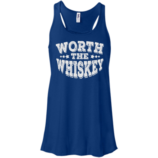 Worth The Whiskey Flowy Racerback Tank