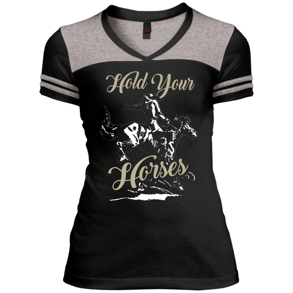Hold Your Horses Juniors Varsity V-Neck Tee
