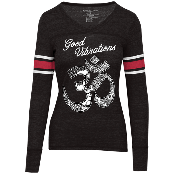 Good Vibrations Om Juniors' Vintage V-neck Tee