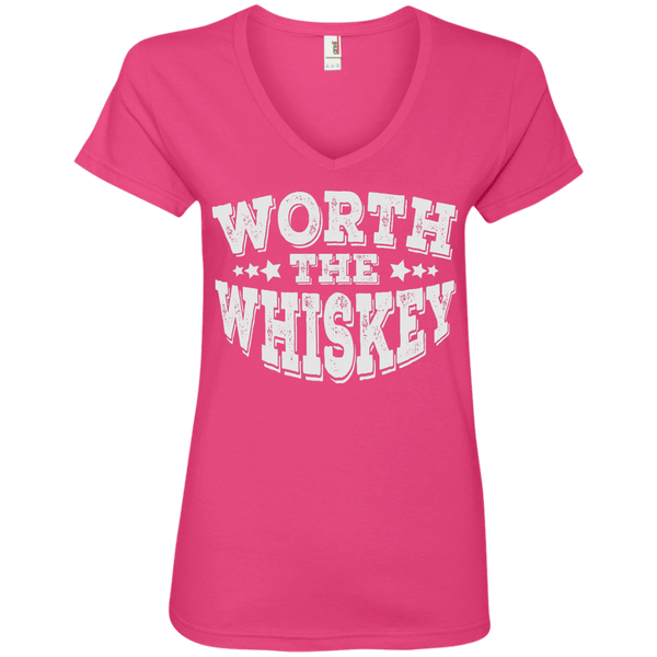 Worth The Whiskey Ladies' V-Neck Tee