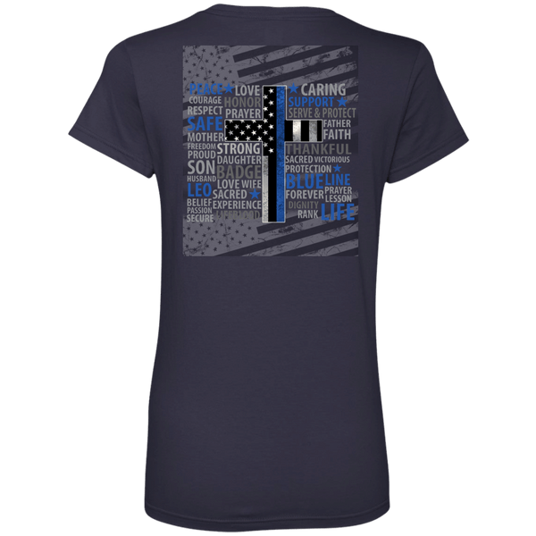 Blue Line Faith Ladies' V-Neck Tee