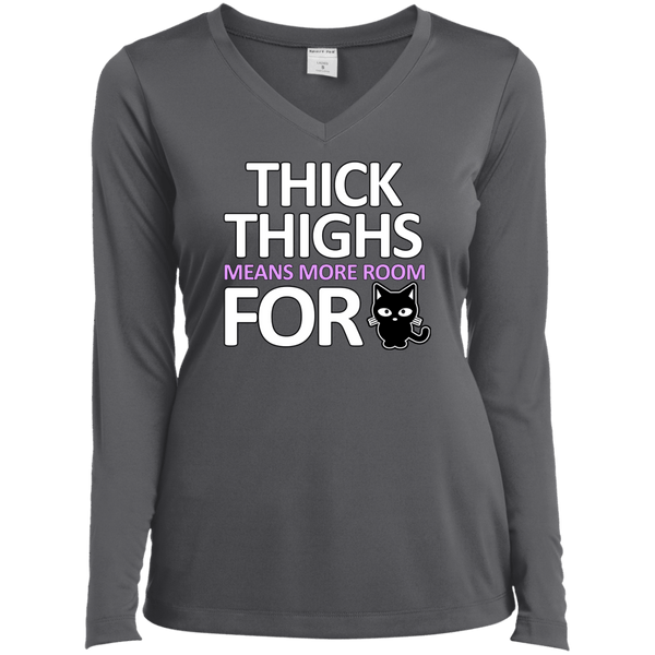 Thick Thighs More Room Ladies LS Vneck Tee