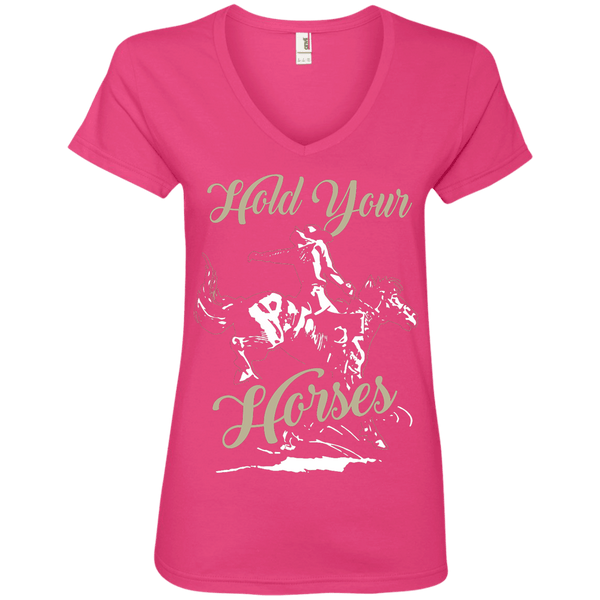 Hold Your Horses Ladies' V-Neck Tee