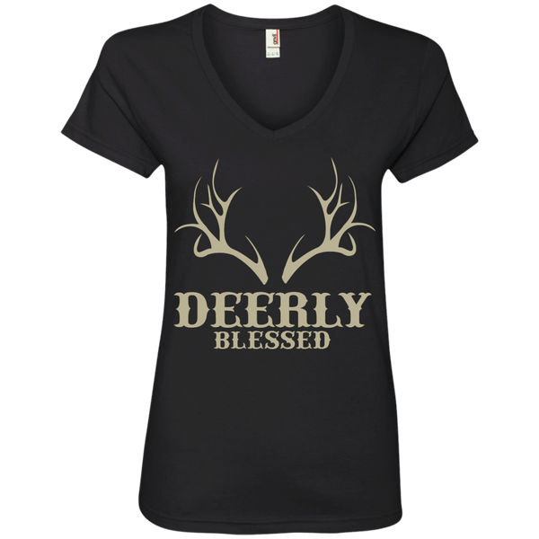 Deerly Blessed Ladies' V-Neck Tee