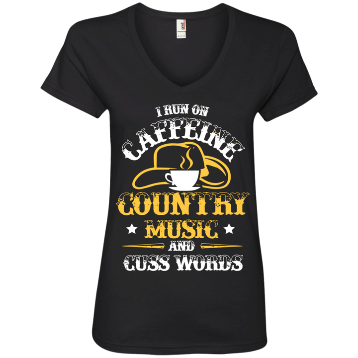 Caffeine & Country Ladies' V-Neck Tee