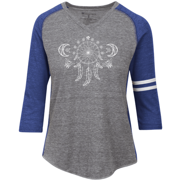 Dreamcatcher Moon Ladies' Vintage V-neck Shirt