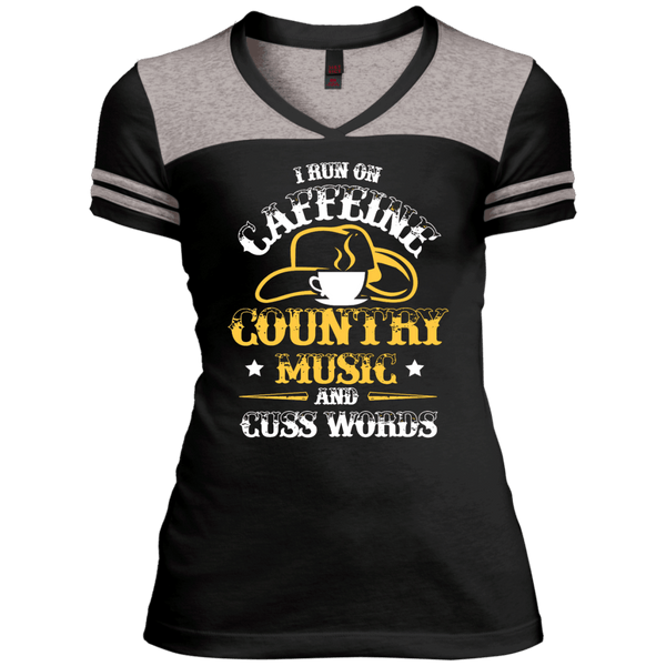 Country & Caffeine Juniors Varsity V-Neck Tee