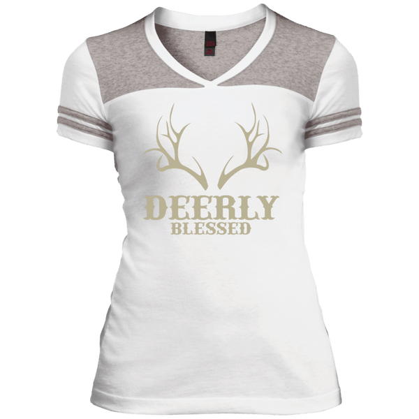Deerly Blessed Juniors Varsity V-Neck Tee