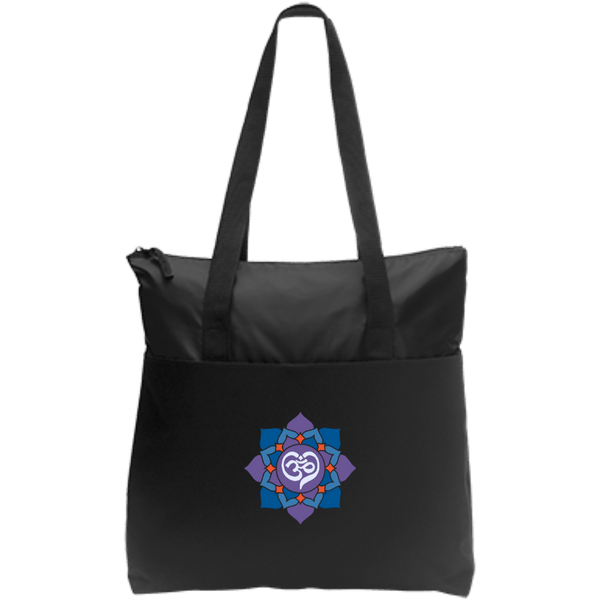 Om Heart Zip Top Tote
