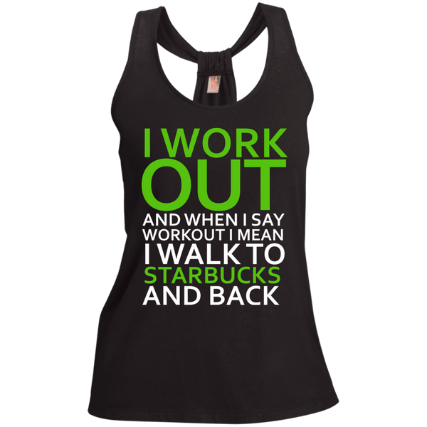 I Workout To Starbucks Ladies Shimmer Loop Back Tank