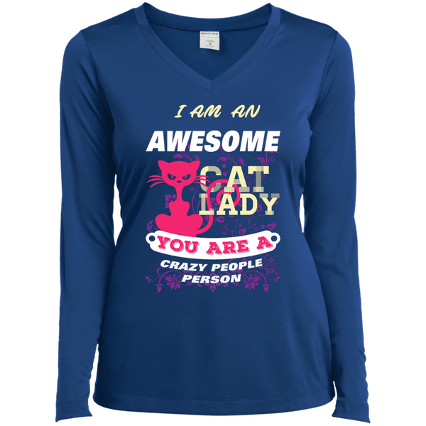Awesome Cat Lady Ladies' LS Vneck Tee