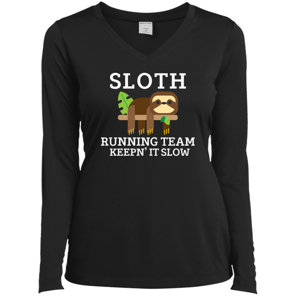 Sloth Running Team Ladies Long Sleeve Performance Vneck Tee