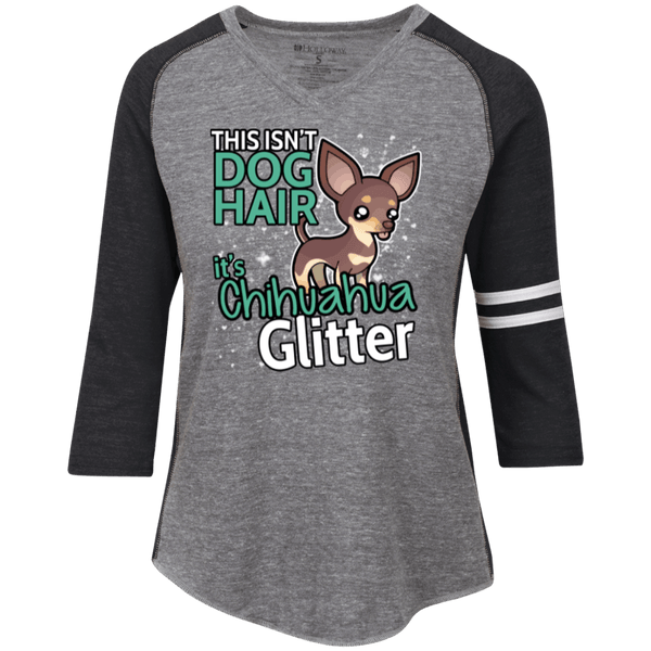 Chihuahua Glitter Ladies' Vintage V-neck Shirt