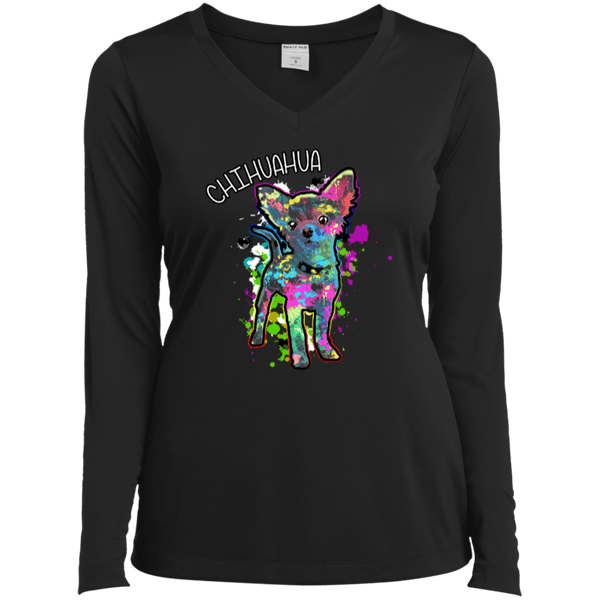 Chihuahua Art Ladies LS Vneck Tee