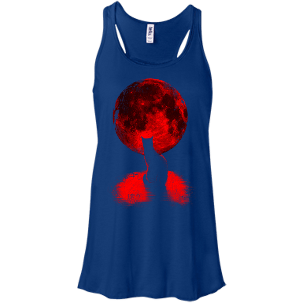 Full Moon Cat Flowy Racerback Tank