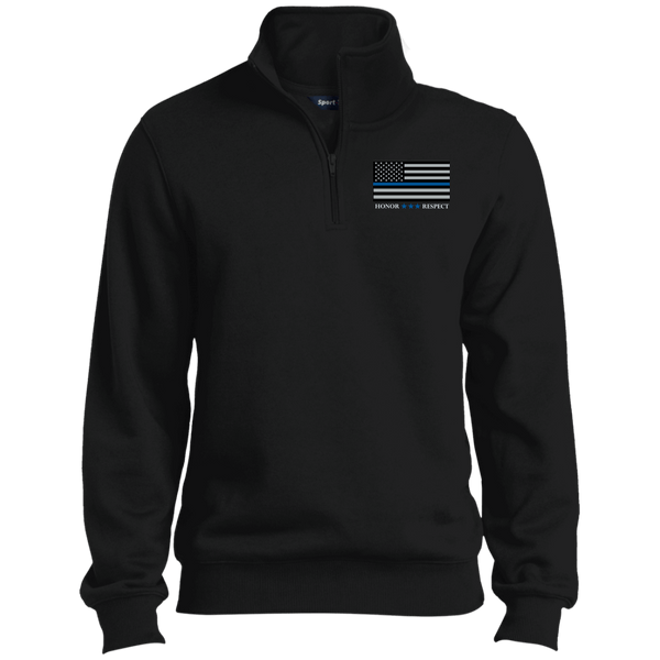 Honor Respect Blue Line Mens 1/4 Zip Sweatshirt