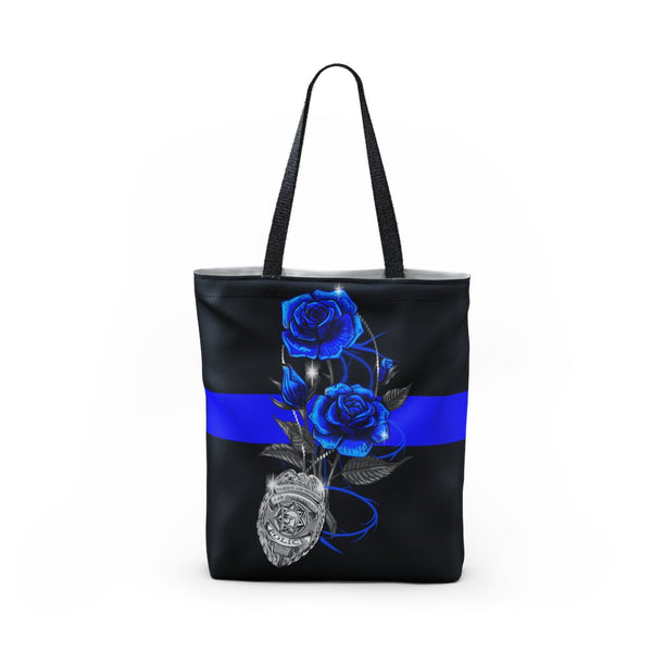 Blue Line Rose Tote Bag