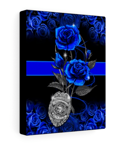Blue Line Rose Stretched Canvas
