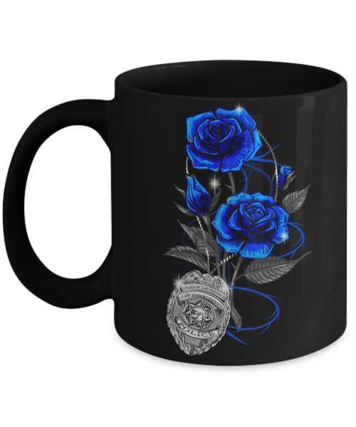 Blue Line Rose Support Police Lives Officer Coffee Mug