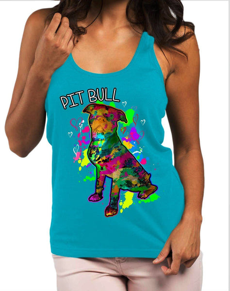Juniors Racerback Tank Top - Pit Bull Art Juniors Racerback Tank Top
