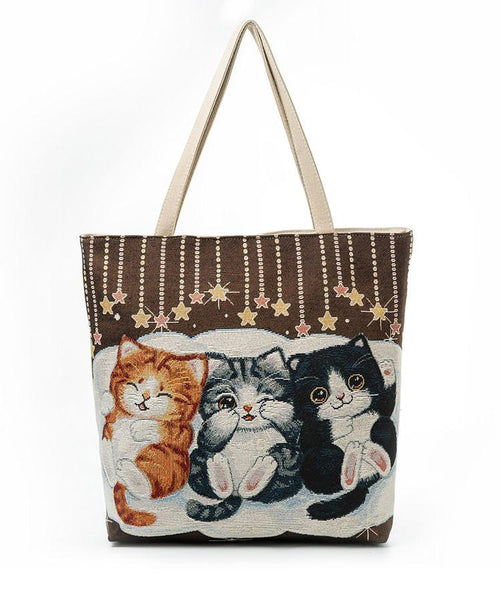 Kitty Delight Embroidered Shoulder Tote Bag