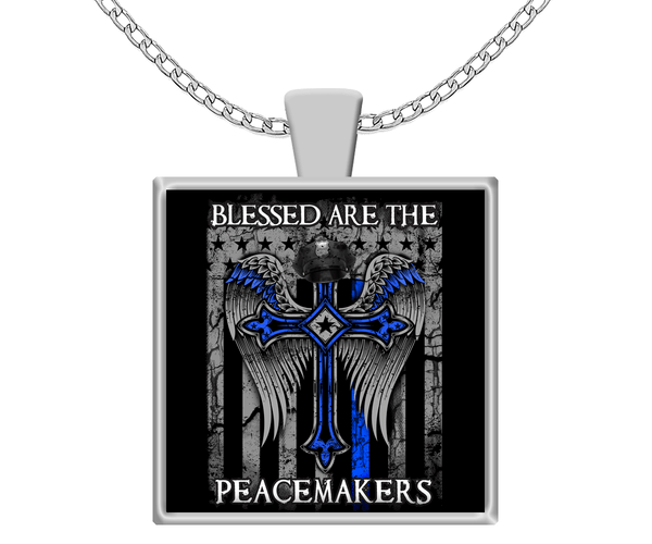Blessed Are The Peacemakers Blue Lives Support Necklace