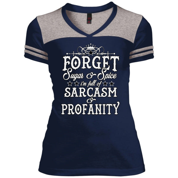 T-Shirts - Forget The Sugar And Spice Juniors Varsity V-Neck Tee
