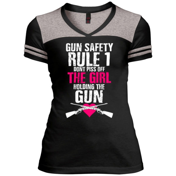 T-Shirts - Gun Rule Safety Rule #1 Juniors Varsity V-Neck